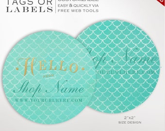 Round Label Template - 2 Inch Circular Mermaid Scales Label Template - DIY Stickers Printable Product Labels HangTags Avery LB2R AAB