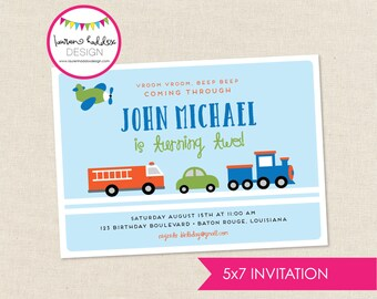 Transportation Birthday Invitation, Transportation Birthday, Transportation Printables, Transportation Decorations, Lauren Haddox Designs