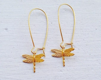 Gift For Her/Dragonfly Earrings/Gold Earrings/Boho Earrings/Bohemian Earrings/Boho Chic/Nature Earrings/Gifts For Her/Dragonfly Jewelry/