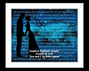 Unique bridal gift, fiance, anniversary gifts for him, her, bride, groom, wedding gift, personalized anniversary song lyrics wall art prints