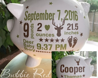 Camo Baby Personalized Piggy Bank,Custom Camo Piggy Bank,  Camo Hunting Piggy Bank, Camo Baby, Hunting Baby