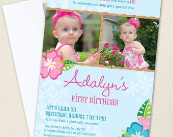 Luau Party Photo Invitations - Professionally printed *or* DIY printable