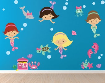 Mermaid Wall Decal, Mermaid Wall Stickers, Nursery Wall Decal,  Reusable Non-toxic FABRIC WALL Decal NO PVCs, SD36