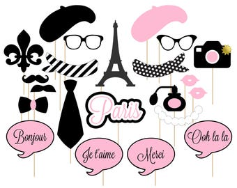 Printable Paris Photo Booth Props . Paris . Parisian . France . French . Light Pink/Black . Instant Download
