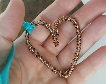 Twisted heart/hanging heart/rear view mirror/key chain heart/wire heart/copper wire/heart/turquiose heart/sweetheart gift/wedding gift
