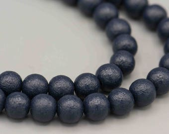 Textured Matte Seal Blue 6mm Round Glass Beads with 1mm Hole 54 Beads