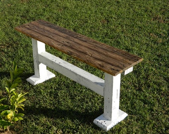 Farmhouse Style Rustic Bench Made from Reclaimed Wood