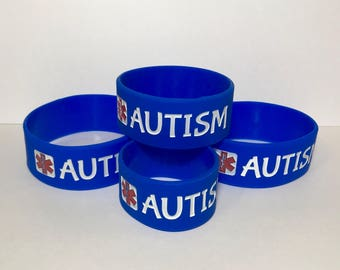 Autism 4-pack Medical Alert Wristband Safety Bracelet with Glow in the Dark