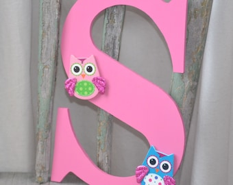 Pink Letter S with Owls Wall Decoration