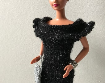 Handknitted dress for Barbie in black and  silver