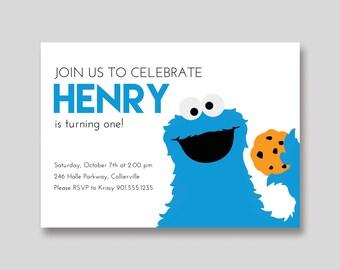 Cookie Monster Sesame Street Birthday Invitation - Custom DIY Printable