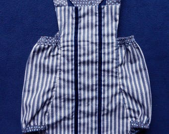 Navy and white stripes cotton romper suit - 6 months old