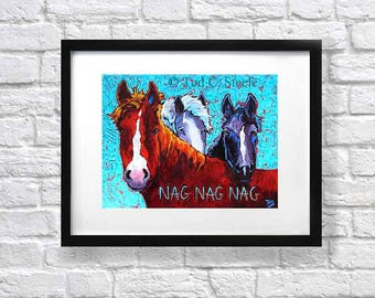 """Horse Art work, Horse Painting,Horse print, Horses art print, Horse Lover art, from Original Painting by Tod C Steele, 5 x 7"""""""