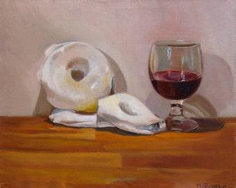 "Still life ""Rousquilles et banyuls"" Original oil painting"