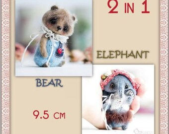 "2in1 pattern ""Bear and Elephant 9.5 cm"""