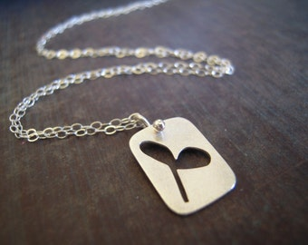 Sprout necklace. Spring seedling, tiny sterling silver leaf. Cotyledon charm.