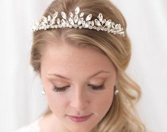Crystal Wedding Tiara, Rhinestone Bridal Crown, Wedding Crown, Bridal Tiara, Bridal Headpiece, Wedding Hair Accessory, Floral Crown ~TI-3305