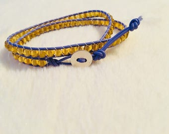 Sunshine Yellow & Periwinkle 2Wrap Bracelet