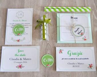 "PDF, Printable Invitations cards ""Botanical"", printable wedding suite, unique save the dates invitations, wedding template, announcement"