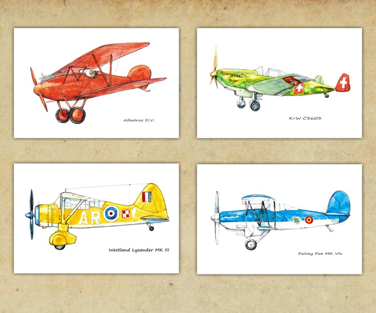 Airplane art bright color decor Boys nursery aviation theme