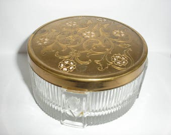 Estate Glass Gold Detailed Cover Powder Jar