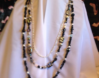 Necklace and Earring Set Black, Silver, Pink, Blue