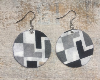 Fabric - stainless steel round earrings