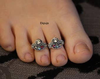 Tibetan silver/Rhinestones/Handmade Toe Ring/ Indian Toe rings/ Diamonte Toe Ring set/ PAIR