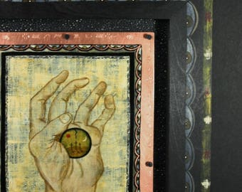 Hand of Christ Contemporary Retablo Painting on Copper and Wood