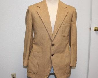 Vintage 1960s tan sport coat jacket Louis Roth L/XL 384