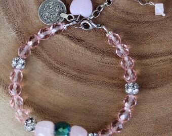Pink quartz & crystal bracelet