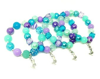 Mermaid Under the sea bracelets party favors in organza bags with special birthday girl bracelet!