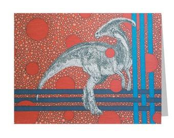 Dinosaur Card, Blank 5x7 Greeting, Parasaurolophus, Dino Lover Cards, Birthday, Thank You, Blue Orange, Geometric Pattern, Gift For Him