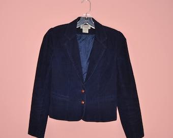 Vintage 80s Navy Blue Corduroy Preppy Cropped Blazer S