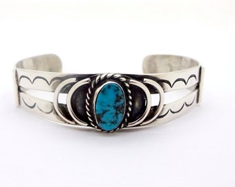 """Vintage NAVAJO STERLING CUFF Sterling Silver Turquoise Stamped Patterns Cuff Bracelet Sz. 6.25"""""""
