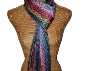 Silk and merino/silk jazzy scarf handwoven by JHTTextiles