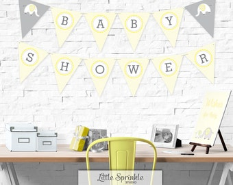 Elephant Baby Shower Bunting Banner Yellow  / Gender Neutral Shower Decoration / Elephant Banner / Printable Digital / INSTANT DOWNLOAD