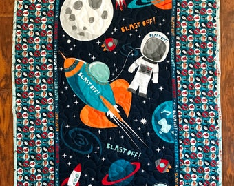 """Boys *Rocket Blast Off* 39""""W x 45L"""" Stippling Quilted Baby Nursery Crib Toddler Blanket Bedding Astronaut Space Earth Moon *Ready to Ship"""