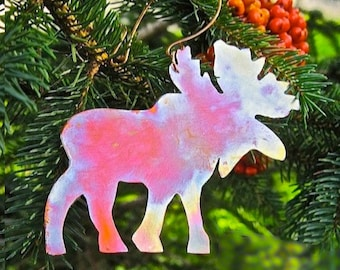 Moose Christmas Ornament Rustic Copper Metal Decoration, Maine Summer Souvenir, Small Wall Hanging, Woodland Animal, Summer & Holiday Decor