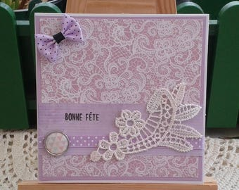 Mother's day, happy birthday card, purple and white