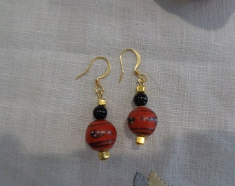 Ethnic round painted wood earrings