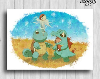 Squirtle and Totodile poster pokemon wall art anime decor pokemon watercolor squirtle print  sc 1 st  Etsy & Pokemon wall art | Etsy