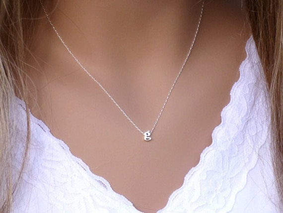 100 sterling silver initial necklace dainty necklace aloadofball Choice Image