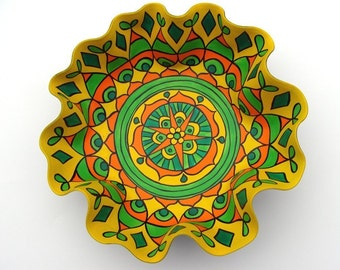 Lemon Lime Mandala Record Bowl - Psychedelic Geometry in Yellow and Green - Eco Friendly Bohemian Home Decor