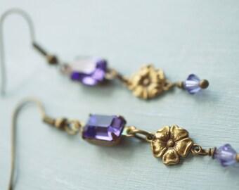Earrings, vintage style periwinkle crystal earrings