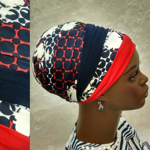 Red, white and blue modern floral sinat tichel. tichels, head wrap, head scarf, chemo scarves, Jewish head covering, hair snood, mitpachat
