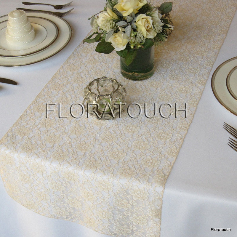 Champagne lace table runner wedding table runner zoom junglespirit Images
