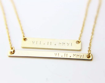 ULTIMATE Roman Numeral Bar Necklace / Personalized Bar / Monogram & Name Necklace