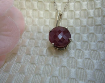 Oval Cut Checkerboard Faceted Ruby Necklace in Sterling Silver   #423