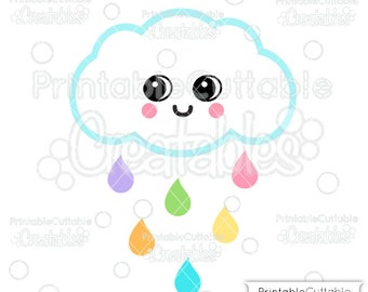 Cute Rain Cloud SVG File Clipart E366 - svg, dxf, png, for Cricut, Silhouette Cameo Cutting Machines - Includes Limited Commercial Use!